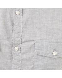 River Island Gray Grey Melange Military Long Sleeve Shirt for men