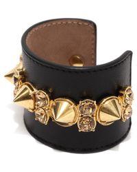 Alexander McQueen Black Spike Leather Cuff
