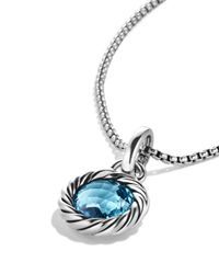 David Yurman Metallic Cable Collectibles Round Charm with Blue Topaz