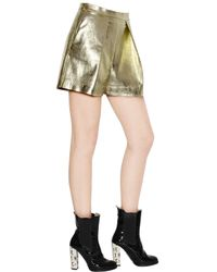 MSGM Metallic Laminated Faux Leather Shorts