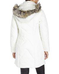 Anne Klein | White Faux Fur Trim Long Down Coat | Lyst