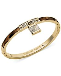 Michael Kors Metallic Gold-Tone Tortoise Pave Padlock Bangle Bracele