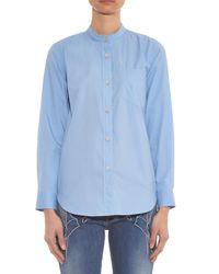 Isabel Marant Blue Wayne Collarless Cotton Shirt