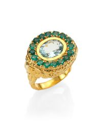 Jade Jagger | Metallic Aquamarine & Emerald Skull Cocktail Ring | Lyst