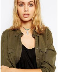 ASOS | Metallic Beaded Feather Choker Necklace | Lyst