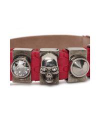 Alexander McQueen | Pink Snakeskin Metal Loop Bracelet | Lyst