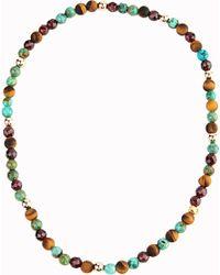 Nialaya - Multicolor 14ct Gold Turquoise Tiger Eye Beaded Bracelet - Lyst
