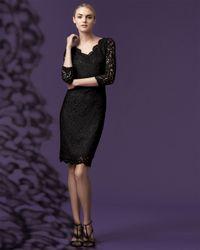 St. John Black Plume Lace Scalloped Dress Caviar