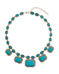 Mikey | Blue Rectangle Enamels Chain Linked Necklace | Lyst