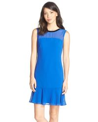 Marc New York - Blue Beaded Flounce Crepe Dress - Lyst