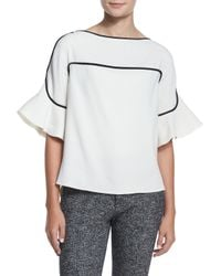 See By Chloé White Graphic Crepe Bell-sleeve Top