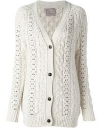 Laneus - White Studded Cable Knit Cardigan - Lyst
