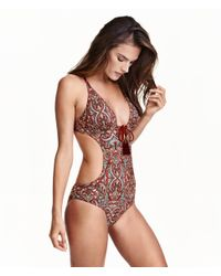H&M Red Cut-out Swimsuit