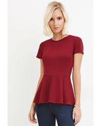 Forever 21 | Red Classic Peplum Top | Lyst