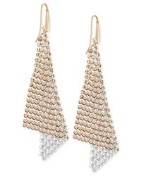 Swarovski | Metallic Rose Gold-tone Crystal Mesh Drop Earrings | Lyst