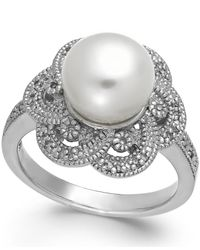 Macy's | White Cultured Freshwater Pearl (9mm) And Diamond (1/10 Ct. T.w.) Flower Ring In Sterling Silver | Lyst