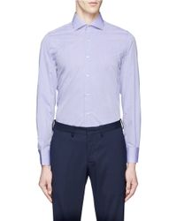 Lardini Blue Spread Collar Cotton Poplin Shirt for men