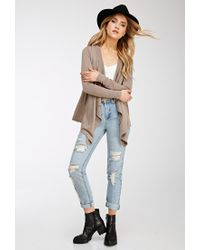 Forever 21 | Brown Draped Open-front Cardigan | Lyst