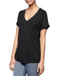 Calvin Klein Jeans | Black Shirred V-neck Tee | Lyst