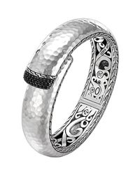 John Hardy Metallic Wide Lava Sterling Silver Kick Cuff With Black Sapphires for men