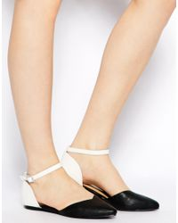 Oasis - Black Monochrome Two Part Flat Shoes - Lyst
