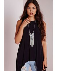 Missguided - Metallic Tassel Trim Layered Bar Necklace Silver - Lyst