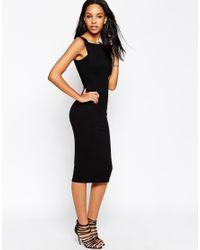 ASOS - Black Strap Back Pini Bodycon Midi Dress - Lyst