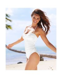 La Blanca | White Ruched Bandeau Onepiece Swimsuit | Lyst