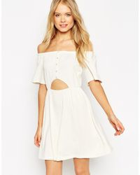 ASOS - Natural Gypsy Off Shoulder Skater Dress With Cut Out - Lyst