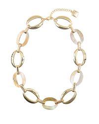 Anne Klein | Metallic Goldtone And Mother-Of-Pearl Disc Necklace | Lyst