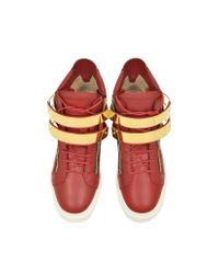 Giuseppe Zanotti - Flame Red Leather High-top Sneaker - Lyst