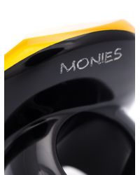 Monies - Black Round Facet Ring - Lyst