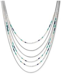 Lucky Brand | Metallic Silver-tone Beaded Multi-row Necklace | Lyst