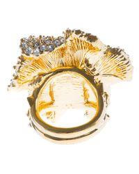 Alexander McQueen - Metallic Embellished Floral Cocktail Ring - Lyst