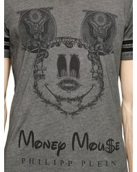 Philipp Plein Gray Money Mouse Printed Cotton T-Shirt for men