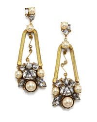 Erickson Beamon - Metallic Stratosphere Crystal & Faux Pearl Statement Drop Earrings - Lyst