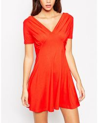 ASOS | Red Petite Skater Dress With Empire Seam | Lyst