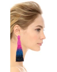 Oscar de la Renta - Blue Long Ombre-Beaded Tassel Earrings - Lyst