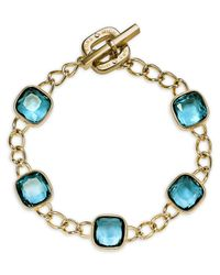 Michael Kors - Blue Cushion Stone Curb Chain Bracelet - Lyst