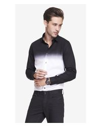 Express - Black Extra Slim Ombre Shirt for Men - Lyst