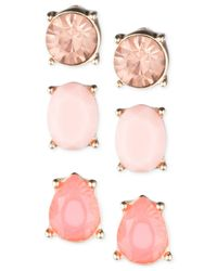 Nine West | Pink Gold-tone Stone Stud Earring Set | Lyst