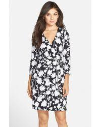 Charles Henry Black Print Jersey Wrap Dress