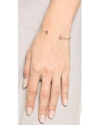 Shashi Metallic Penelope Cuff Bracelet - Clear/gold