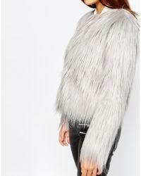 Warehouse - Gray Faux Fur Coat - Lyst