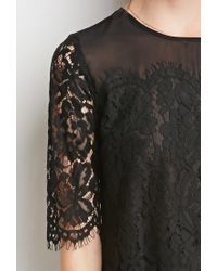 Forever 21 | Black Floral Lace-paneled Top You've Been Added To The Waitlist | Lyst