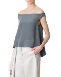 Tibi Gray Silk Off-the-shoulder Top