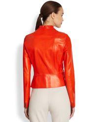 Akris Punto | Red Nappa Leather Biker Jacket | Lyst