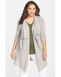 NIC+ZOE | Green 'great Lengths' Drape Front Cardigan | Lyst