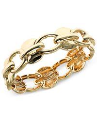 Anne Klein | Metallic Gold-tone Open Link Stretch Bracelet | Lyst