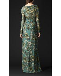 Burberry - Multicolor Floor-Length Silk Floral Print Dress - Lyst